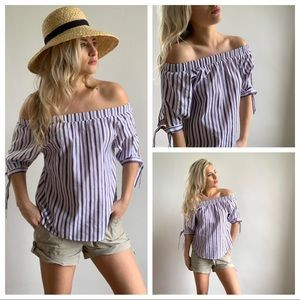 THML Off The Shoulder Striped Blouse Sleeve Ties S